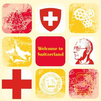 switzerland travel icons set - vector gratuit #134416