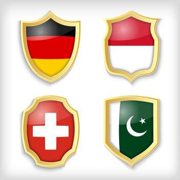 set of shields with different countries stylized flags - бесплатный vector #134516