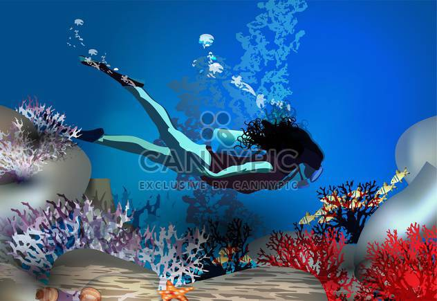 diver swimming underwater background - Free vector #134536