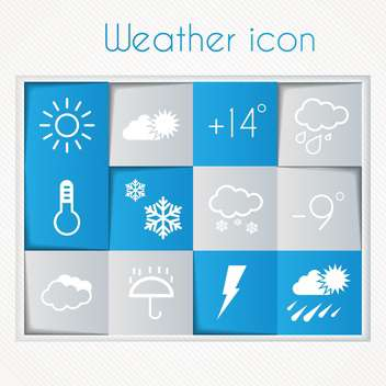 weather widget and icons set - vector gratuit #134586