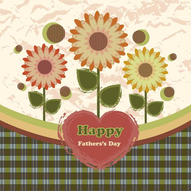 happy fathers day vintage card - vector gratuit #134656