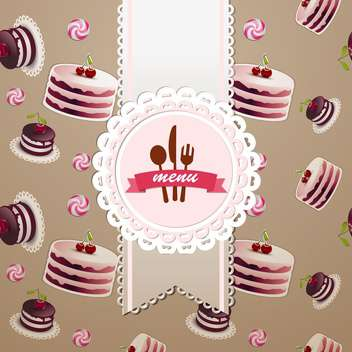 cupcakes and candy seamless pattern - vector gratuit #134676
