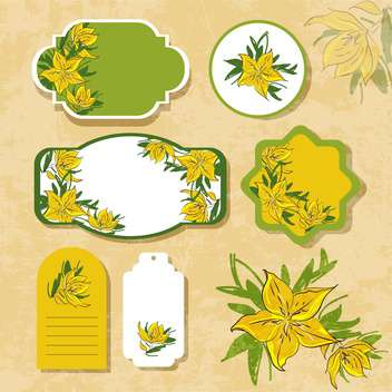 vintage labels with flowers - vector gratuit #134726