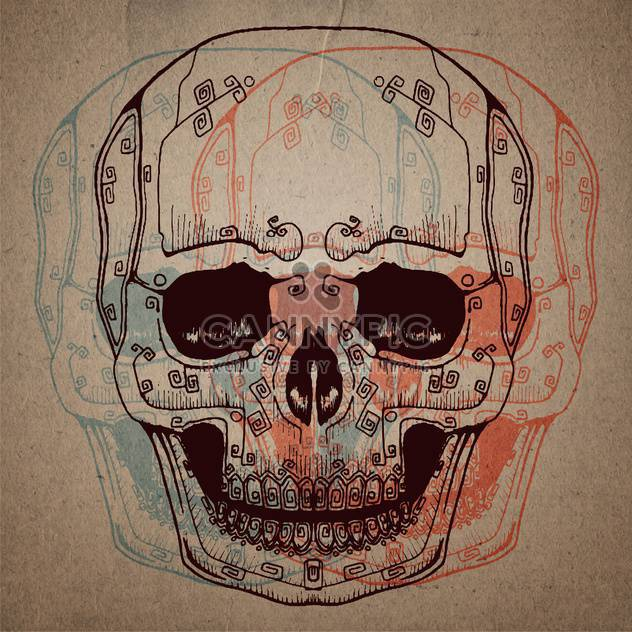 skull study drawing with pencil on paper - Free vector #134746