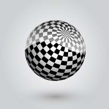 black and white abstract checkered sphere - vector gratuit #134796