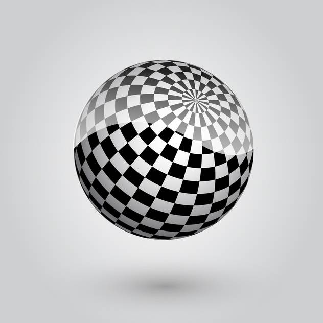 black and white abstract checkered sphere - Free vector #134796