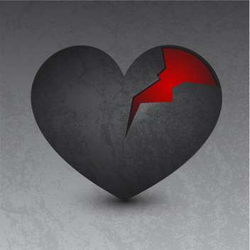 vector illustration of black broken heart - vector gratuit #134806