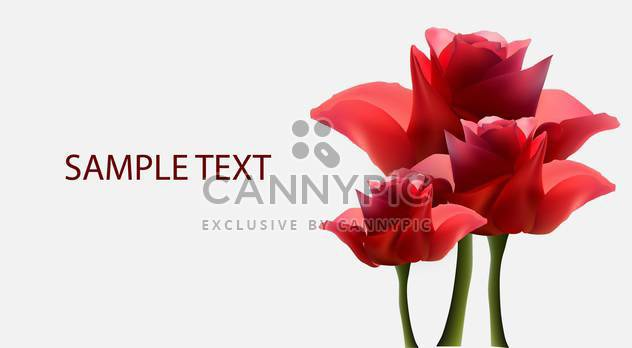 vector background with red roses flowers - Free vector #134826