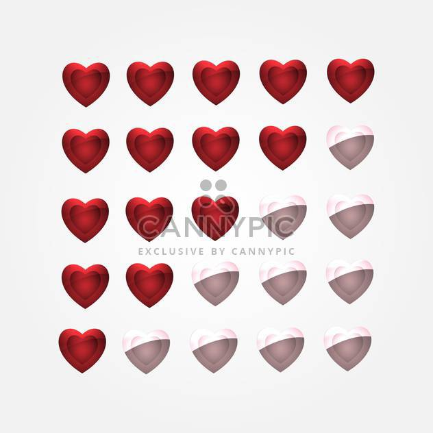 vector set of glossy shiny hearts - Free vector #134846