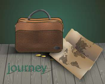 travel bag with map background - Free vector #134946