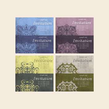 set of retro cards for invitation - vector gratuit #134966