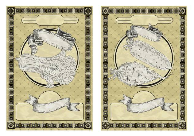 vintage banners with vegetables in vintage style - vector gratuit #135046