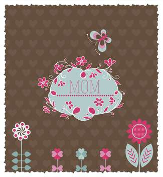 festive card for mother's day with butterflies and flowers - vector gratuit #135066
