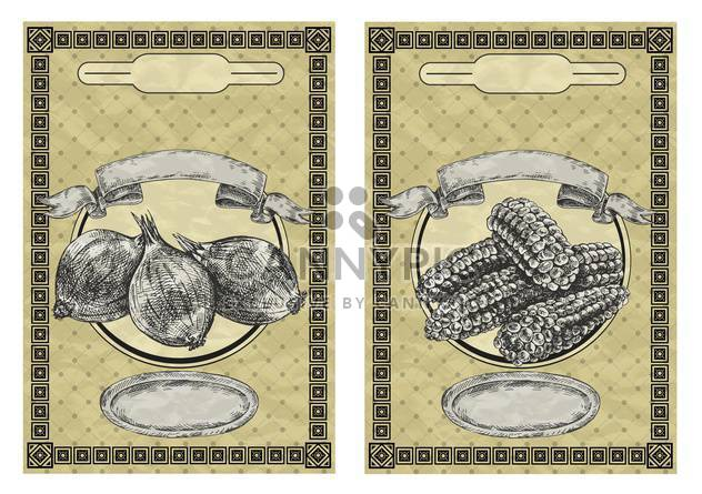 vintage banners with onion and corn - Free vector #135076