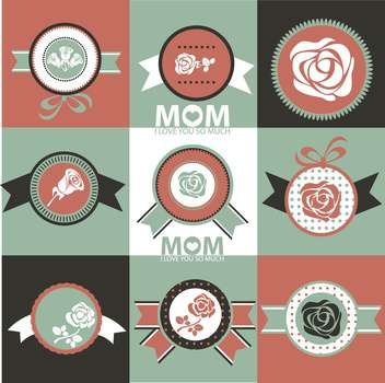 set of greeting labels for Mother's day - vector gratuit #135086