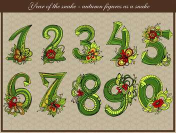 vector snake shaped numbers set - vector gratuit #135106