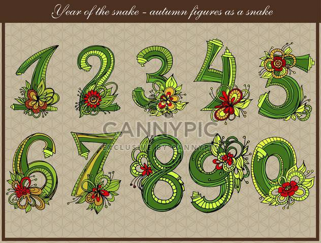 vector snake shaped numbers set - Free vector #135106
