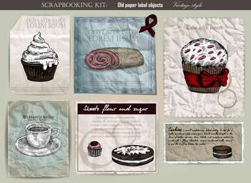 coffee and cake set on old paper - vector gratuit #135116