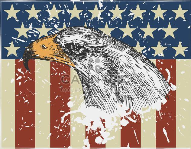 eagle bird on usa american flag background - Free vector #135146