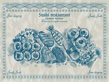 vintage sushi restaurant banner vector illustration - бесплатный vector #135196