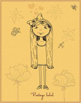 cute cartoon romantic girl vector - Free vector #135216