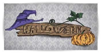 pumpkin, hat on halloween holiday banner - бесплатный vector #135266
