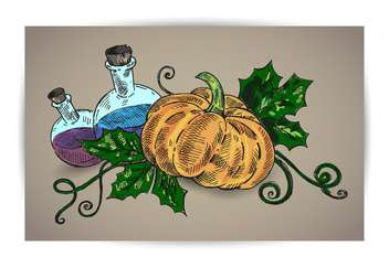 halloween pumpkin and chemicals on brown background - vector gratuit #135276