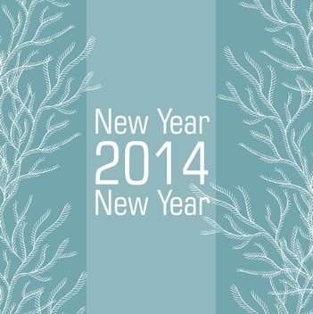 New 2014 year card in blue and white colors - vector gratuit #135286