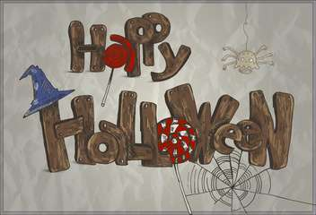 Happy Halloween holiday card with candies - Free vector #135306